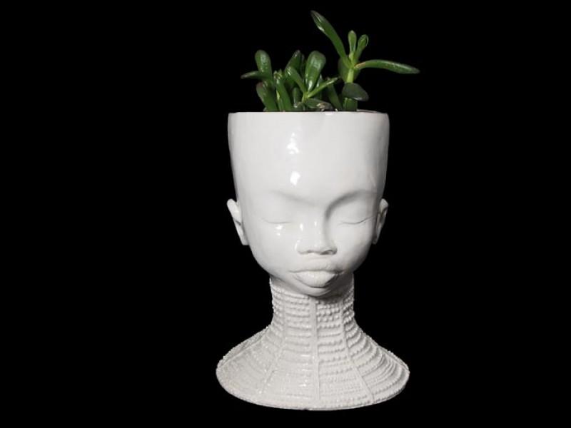 Ceramic Lady Planter - Beaded Cuff Necklace