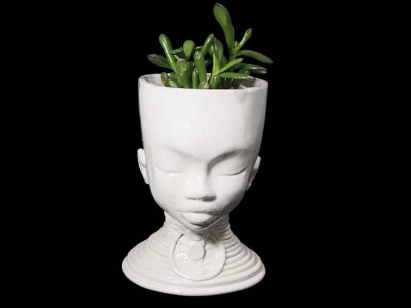 Handmade Ceramic Lady Planter - Medallion