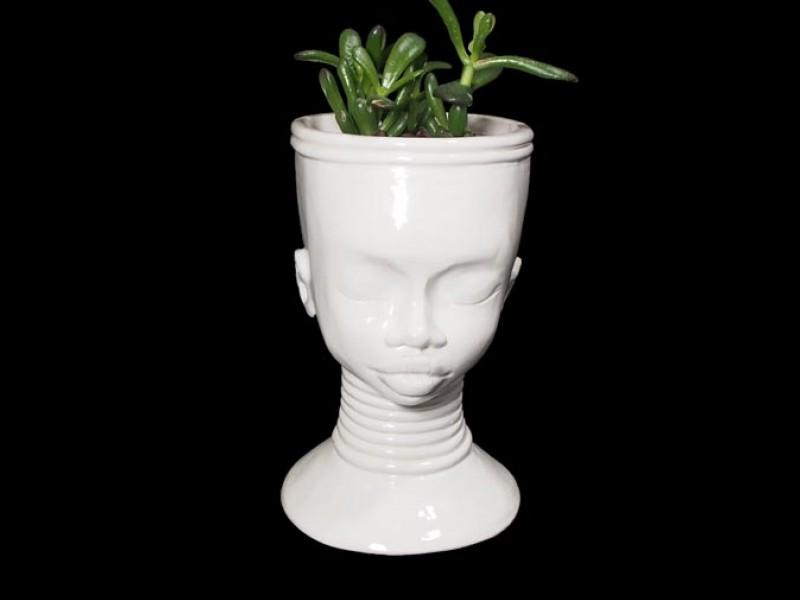 Handmade Ceramic Lady Planter - Tribal Choker