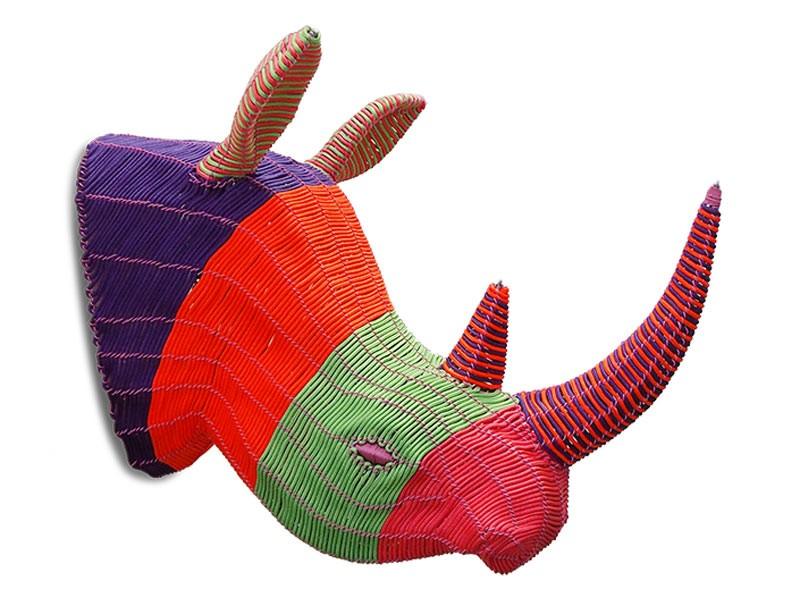 Large Rope Rhino Head Wall Hanging
