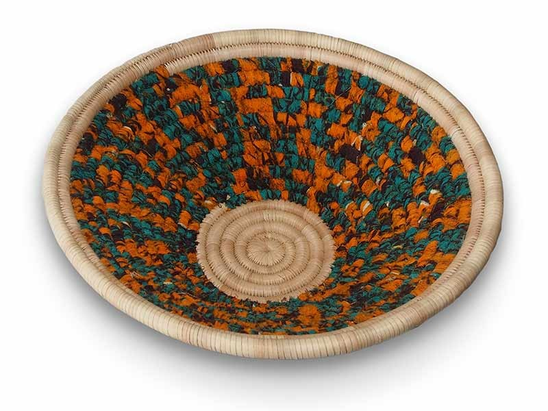 Chitenge Fabric and Grass Basket