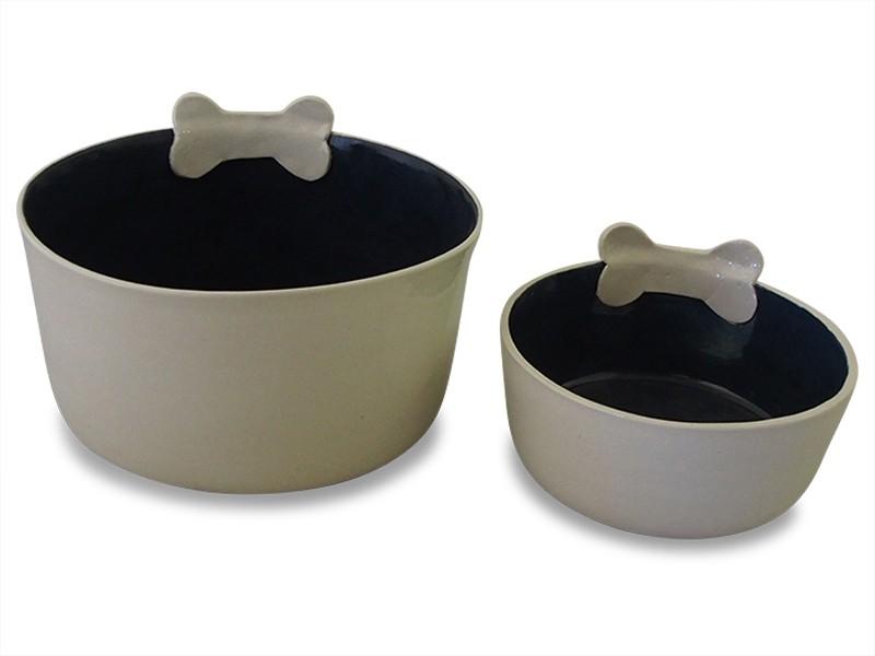 Ceramic Dog Bowl Small - Grey