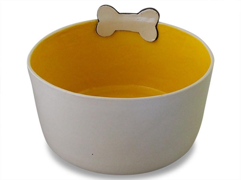 Large Ceramic Dog Bowl - Yellow