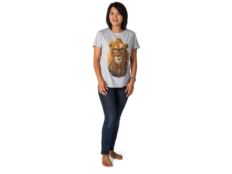 Ladies Lion T-Shirt - Grey Melange