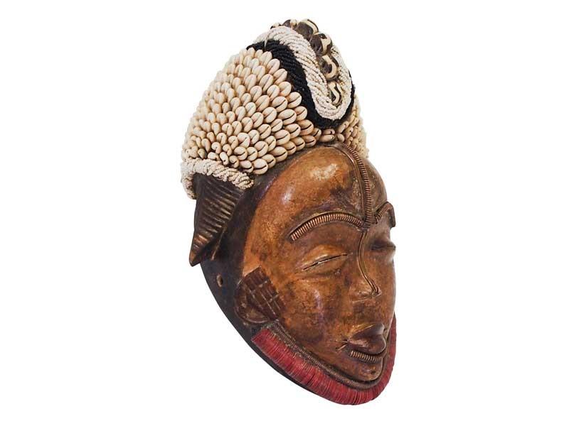 Beaded Punu Mask - White and Black