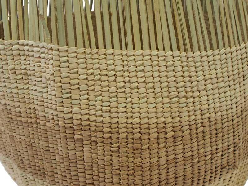 Tassel Basket_Natural Stripe_Focus