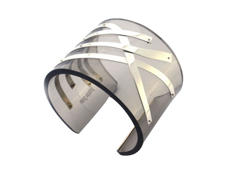 Perspex Cuff With Long Silver Strip