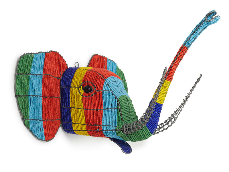 Colourful Beaded Elephant Wall Hanging